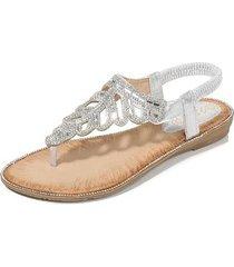 sandalias de playa con cuentas de diamantes de imitación para mujer-plata