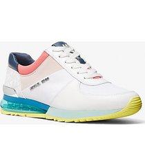 mk sneaker allie extreme in tela e pelle color block - bianco ottico cangiante (bianco) - michael kors