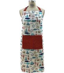 mod lifestyles marine lighthouse print tie-back big front pocket apron