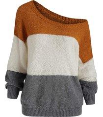 drop shoulder colorblock loose sweater