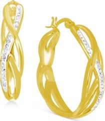 """essentials crystal braided medium hoop earrings in fine silver-plate or gold plate, 1.24"""""""