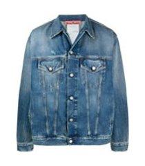 acne studios jaqueta jeans com detalhes puídos - azul