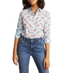 women's boden modern classic print shirt, size 6 - blue