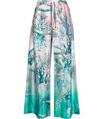 f.r.s for restless sleepers mermaid print trousers - pink