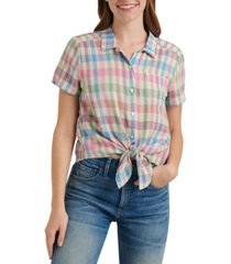 lucky brand plaid tie-front collared shirt