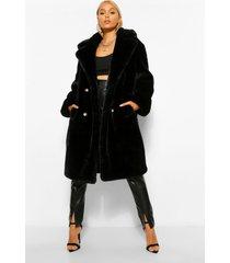 getextuurde luxe teddy jas, zwart