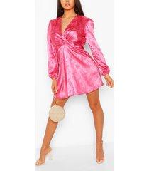 floral jacquard satin skater dress, pink