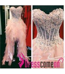 prom dress,pale pink prom dress,high low dress,tulle prom dress,evening dress