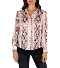 women's kut from the kloth sam snakeskin print button front top