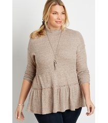 maurices plus size womens solid ribbed mock neck babydoll top beige