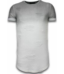 flare effect t-shirt - long fit shirt dual colored