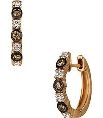 chocolatier® 14k strawberry gold®, chocolate diamonds® & vanilla diamonds® huggie hoop earrings