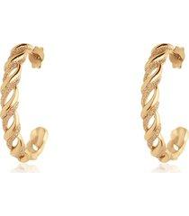 orecchini a cerchio in ottone dorato e glitter per donna