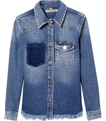 camisa john john exeter jeans azul feminina (jeans medio, gg)