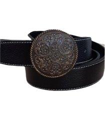 cinturón cuero hebilla redonda mandala negro mf cueros