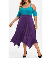 colorblock criss cross open shoulder plus size dress