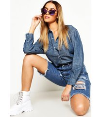 oversize denim shirt, mid blue