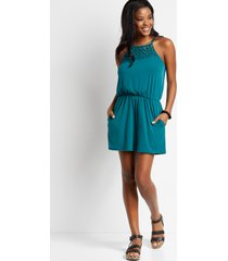 maurices womens solid macrame neck pocket romper blue