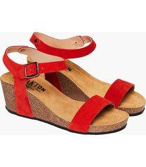 sandalia dama, modelo s2 kiss, cuero afelpado rojo