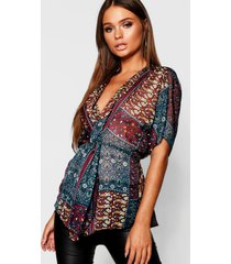 boho print knot front blouse, berry