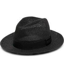 emporio armani wide-brim sun hat - black