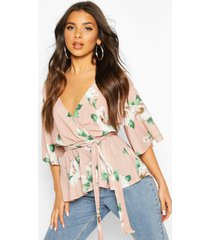 frill structured sleeve floral blouse, blush