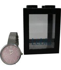 reloj rosa leblu glitter