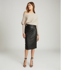 reiss kali - leather pencil skirt in black, womens, size 14