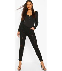 low rise heavy ripped skinny jeans, black