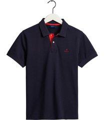 gant poloshirt evening blue pique rood contrast rugger regular fit