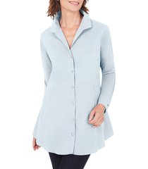 petite women's foxcroft cecelia non-iron button-up tunic shirt, size 10p - blue