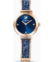 orologio cosmic rock, bracciale di metallo, azzurro, pvd oro rosa