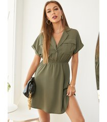 yoins verde militar cuello de solapa mangas cortas mini vestido