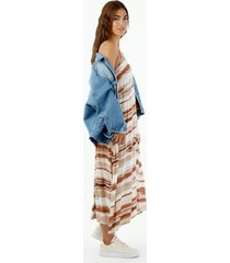 vestido de mujer, silueta amplia de diseño midi con cuello en v de tiras, con estampado a rayas