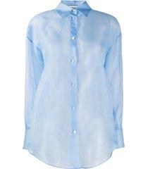 msgm transparent button-up shirt - blue