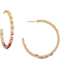 rachel rachel roy gold-tone pink ombre baguette medium hoop earrings, 1.5""