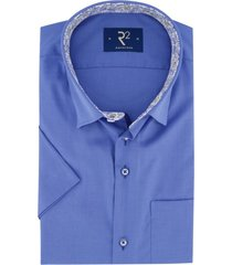 korte mouwen overhemd r2 kobalt blauw