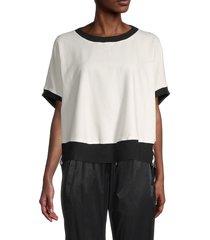 blanc noir women's abstract-print stretch-cotton sweatshirt - white black - size s