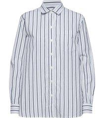 stripe boyfriend shirt in poplin långärmad skjorta blå gap