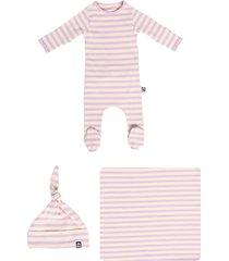 infant girl's rags essentials newborn bundle footie, hat & swaddle blanket set, size 0-3m - purple