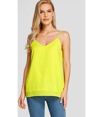 yoins basics blusa sin mangas con cuello en v y tirantes finos en amarillo