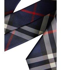burberry modern cut vintage check tie - blue
