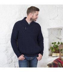 mens shawl collar aran sweater navy large