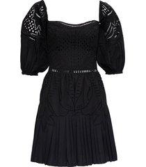 alberta ferretti black cotton openwork dress