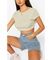 rib cap sleeve crop top, sage