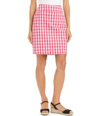 charter club gingham pull-on skort, created for macy's