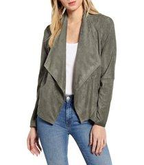 women's bb dakota suede it out drape front faux suede jacket, size large - green