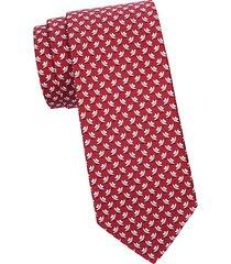 hat-print silk tie