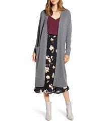 women's halogen wool & cashmere long cardigan, size large - grey