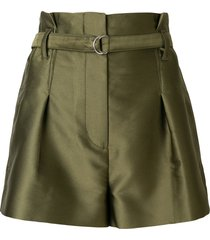 3.1 phillip lim satin origami shorts - green